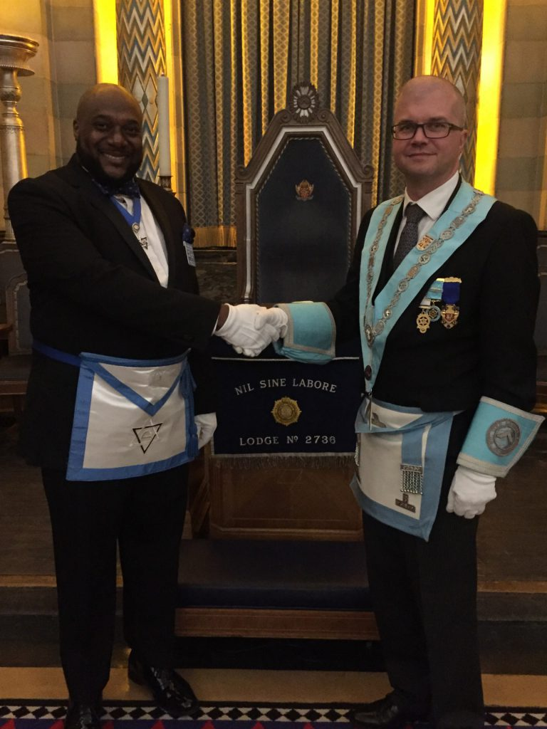 W Bro Jamie Little with Naneen Chritopher a member of Shakespear Lodge 750 New York